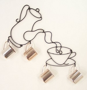 "Coffee Pot and Cup with Hooks ( 19"" w x 21.5"" h )"