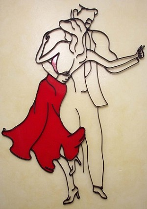 "Salsa Dancers W/ Red Dress ( 29""w x 39""h )"