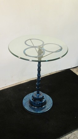 Side table Glass w/ Blue Gears and crack shaft stand
