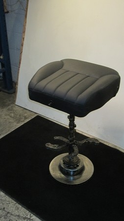 Bar stool w/ Driver seat black leather cushion and crank shaft stand