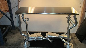 Work Bench - Stainless steel table top with Silver exhaust legs