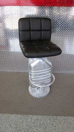 Bar stool w/ Black seat and silver muffler stand