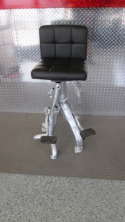 Bar stool w/ black seat and silver exhaust legs #2